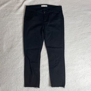 Eunina Black Denim Jeans Raw Hem crop Size 11